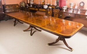 Regency Style 14ft Bespoke Dining Table Inlaid Flame Mahogany