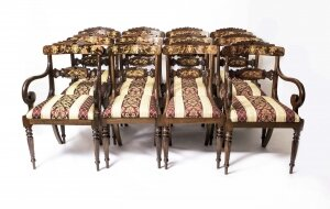 Set 12 Bespoke Handmade Regency Style Burr Walnut Marquetry Dining Chairs