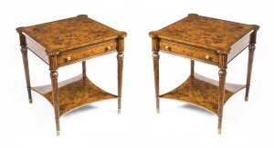 Pair Bespoke Burr Walnut Side End Occasional Tables with Slides & Drawers