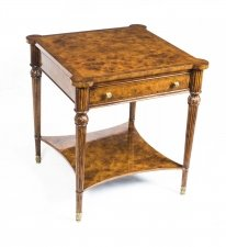 Stunning Burr Walnut Side Table With Drawer & Slides