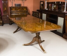 Superb 10 ft Burr Walnut Regency Style Twin Pillar Dining Table