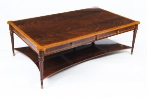 Bespoke Contemporary Flame Mahogany Coffee Table With Two Drawers