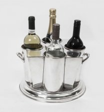 Silver Plated Art Deco 4 Bottle Wine Cooler Ice Bucket