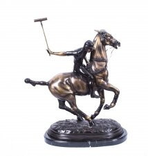 Handsome Bronze Polo Player Galloping Horse Sculpture