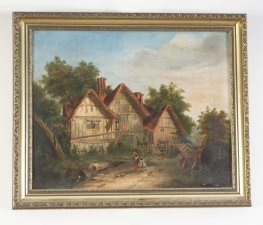 Antique Victorian Oil on Canvas & 39 Back Home& 39