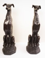 Pair of Large Art Deco Revival Bronze Seated Dogs 20th C