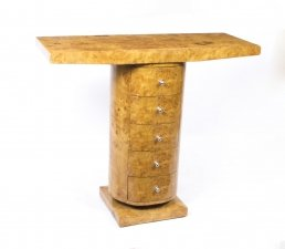 Elegant Birdseye Maple Art Deco Style Console Table