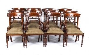 Vintage Set 12 English Regency Style Bar Back Dining Chairs 20th C