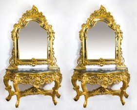 Pair Fantastic Rococo Style Console Tables Mirrors