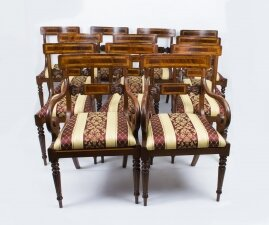 Splendid Bespoke Set of 12 Regency Style Dining Chairs Armchairs