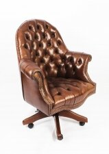 Bespoke English Hand Made Leather Directors Desk Chair Hazel