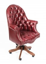 Bespoke English Hand Made Leather Directors Desk Chair Burgundy
