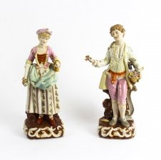 Lovely Pair Dresden Style Classical Porcelain Figures late 20th Century