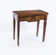 Louis XV Style Marquetry Card Games Table Rosewood