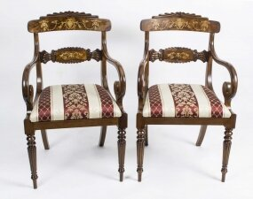 Pair of English Regency Style Burr Walnut Armchairs