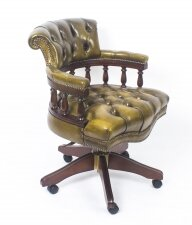 Bespoke English Hand Made Leather Captains Desk Chair Emerald Green