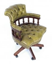 Bespoke English Hand Made Leather Captains Desk Chair Murano Leaf Green