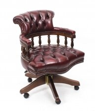 Bespoke English Hand Made Leather Captains Desk Chair Burgundy