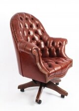 Bespoke English Hand Made Leather Directors Desk Chair Chestnut