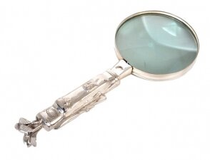 Vintage Silver Plated Magnifying Glass Golf Bag Handle 20th Century
