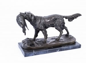 Stunning Bronze Sculpture Dog on the Hunt