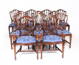 Bespoke Set 12 English Hepplewhite Revival Dining Chairs 20th Century