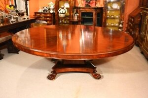 Vintage 7 ft diam Regency Revival Flame Mahogany Dining Table 20th Century
