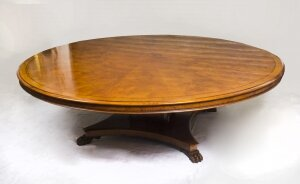Vintage Regency Style 8ft Round Pollard Oak Dining Table 20thC