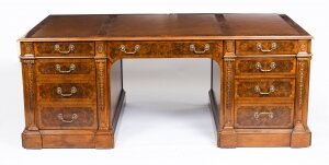 Beautiful bespoke Victorian Revival Burr Walnut Partners Pedestal Desk