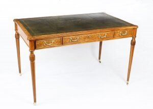 Vintage Burr Walnut Gillows Revival Writing Table Desk 20th C
