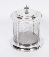 Lovely Silver Plated & Cut Glass Biscuit Sweet Tea Box