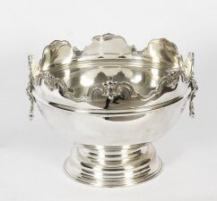 Vintage Silver Plated Monteith Punch Bowl Cooler 20th Century