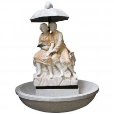 Charming Pink Marble Garden Fountain Lovers Statue