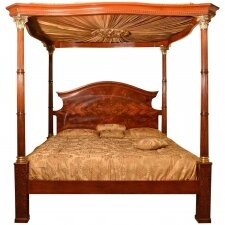 Huge Super King Mahogany Four Poster Bed With Silk Canopy