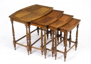 Vintage Mahogany & Inlaid Nest of 4 Tables
