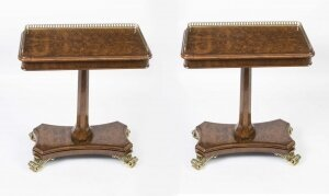 Pair of Bespoke Regency Style Burr Walnut Occasional Tables