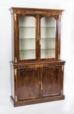 Antique Burr Walnut & Inlaid Bookcase Display Cabinet