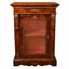 Antique Victorian Burr Walnut Pier Cabinet