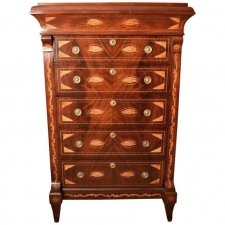 Antique Dutch Marquetry Walnut Chest of Drawers