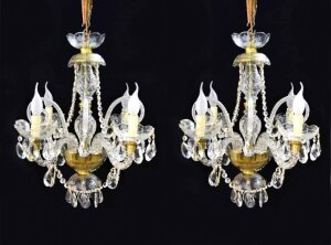 Pair of Vintage Venetian Four Light Crystal Chandeliers