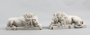 Decorative Small Pair of Marble Lions 21st Century After Canova