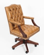 Bespoke English Handmade Gainsborough Leather Desk Chair Tan
