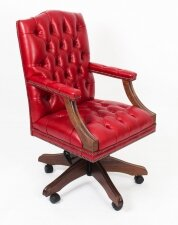 Bespoke English Handmade Gainsborough Leather Desk Chair Gamay