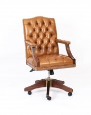 Bespoke English Handmade Gainsborough Leather Desk Chair Buckskin