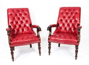 Pair English Handmade Carlton Leather Desk Chairs Gamay