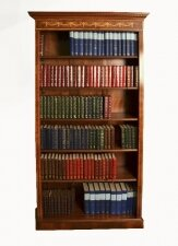 Bespoke Sheraton Revival Burr Walnut Open Bookcase