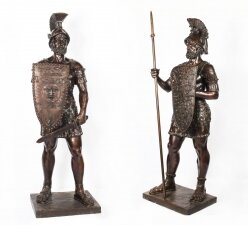 Magnificent Pair Huge 7ft Bronze Roman Soldier Centurion Statues 20th C