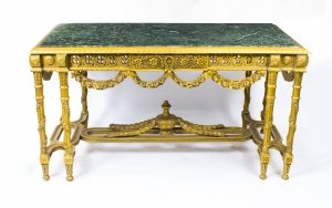 Vintage Louis Revival Giltwood & Verde Antico Marble Centre Table 20th C