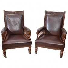 Antique Pair of English Leather Armchairs