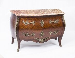 Antique French Louis Revival Parquetry Commode Chest Marble